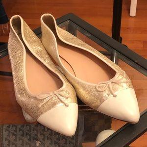 J. Crew Gold Leather Cap Toe Ballet Flats S|9.5